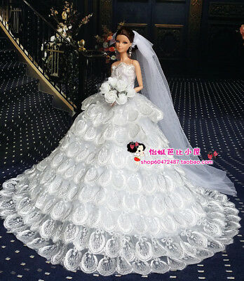 Fashion Royalty Princess White Dress Wedding gown+Veil  for 11.5in.Doll
