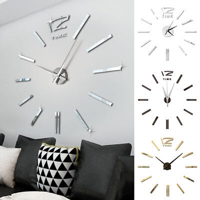 Modern DIY 3D Number Acrylic Mirror Wall Sticker+ Clock Living Room Home Decor
