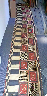 african kuba raffia textile zaire large - with velvet and kauri