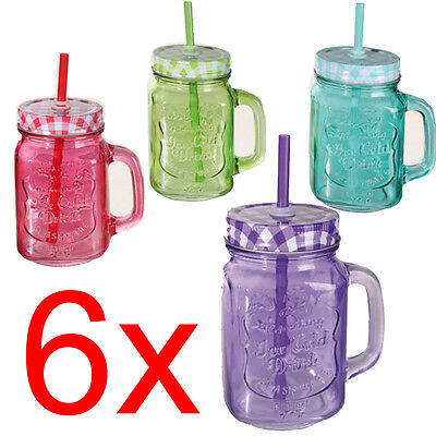 6 X Mason Jam Jar Glasses With Handle Lid Straw Juice Drink Glass Drinking 500Ml