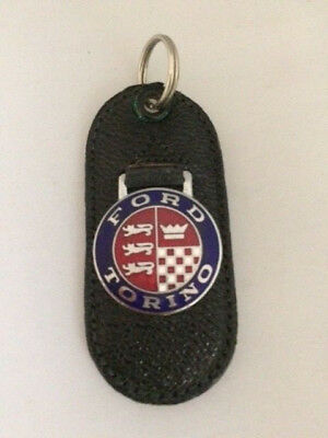Vintage Leather Keychain Key Fob Ford Torino Blue Red Craftsman