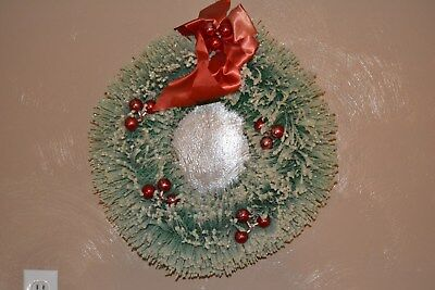 "Large 19"" vintage Bottle Brush Christmas Wreath #2 ~ Flocking glass ornaments"