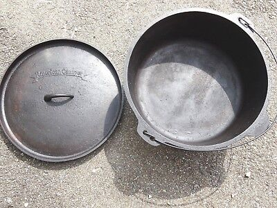 Large American Camper Three Legged cast iron Kettle Pot with Lid