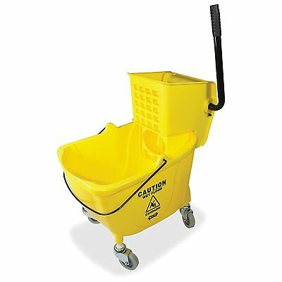 Mop Bucket Side Press Wringer Yellow Squeeze Cleaning Janitor Equipment Rolling