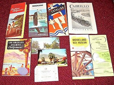 1940s 50s 60s Lot Los Angeles CA Travel Brochures Maps Postcard Inspection Card