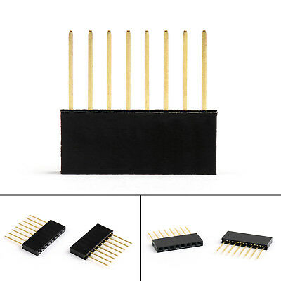 100Pc Copper 2.54mm 8Pin Long Needle Female Pin Header Socket Connector 11mm UE