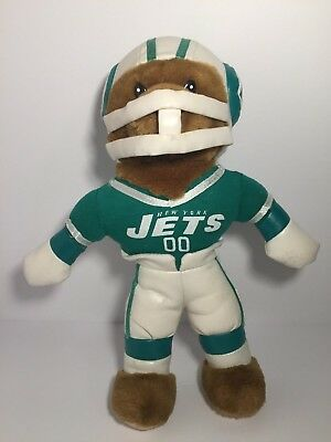 Vintage New York Jets #00 Green and White Teddy Bear with Helmet no Football