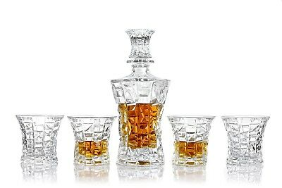 Vilmont Kepp Whiskey Decanter and Glasses 5 Piece Gift Set Lead Free