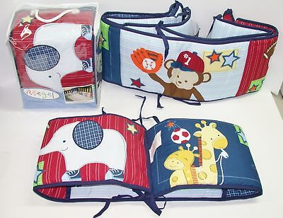 """Riegel Crib Bumper Pads ~ Ready Set Go! ~ Primary Colors ~ 10"""" x 160"""" **NEW**"""