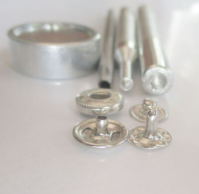 Button Glove Snap fasteners 10mm silver w hand setter n hole punch
