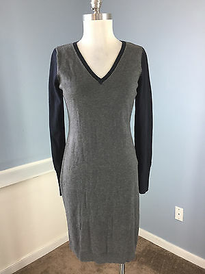 bd04df9a1ba Ann Taylor S V neck sweater dress Career Cocktail Excellent Gray Navy Blue
