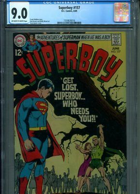 Superboy #157 Cgc Hi Grade 9.0 Great Adams Cover Brown Wood Art