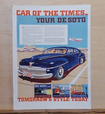 1941 magazine ad for DeSoto - Car of The Times, colorful, car at airfield