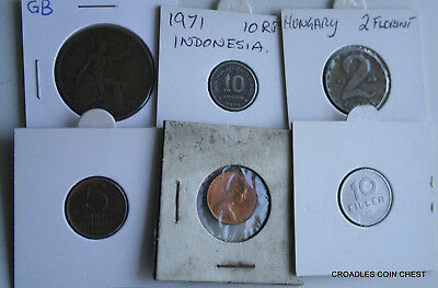 6 X Mixed World Coin's General Mix Modern World In 2X2 Holders #bes50