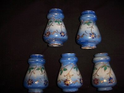 antique porcelain bed knobs x5,hand painted, suit brass/iron bed