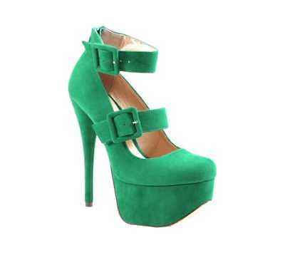 Luichiny Women's Once Bitten Green Imi Suede Platform Shoes