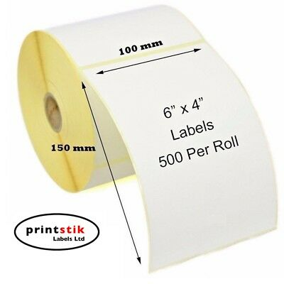 "4x6"" 100 x 150mm Direct Thermal Labels 500 / roll Zebra Toshiba Citizen 6x4"