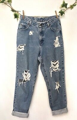 Vintage 90s Lee Womens Blue Distressed High Waisted Mom Boyfriend Jeans 12
