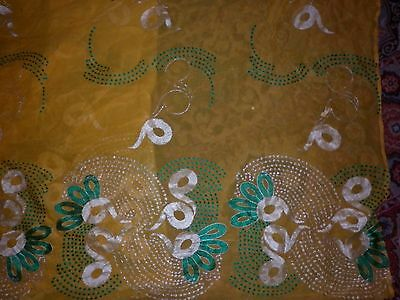 Vintage Exotic Indian Sheer Yellow Short Sari Excellent Condition