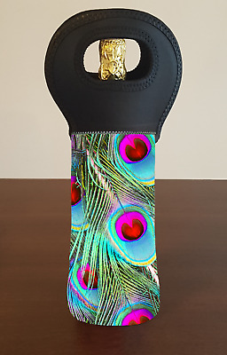 Peacock Feather Wine Bottle Cooler Carry Bag