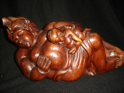 Balinese Father & Child Statue wood carving Sculpture Fine Mas Ubud Bali Art