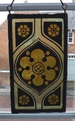 Antique Early 19th Century Gothic Style Stained Glass Panel - Very Decorative!