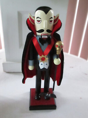 """9.5"""" Halloween Wooden Nutcracker - Dracula with Bat and Cane New LAST 1"""