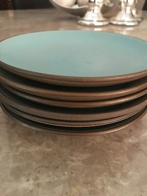 VINTAGE EDITH HEATH POTTERY CALIFORNIA TURQUOISE Bread And Butter Plates