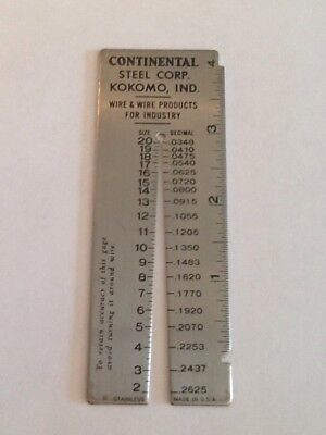 Vintage steel wire gauge chart wire center vintage co wire gage measuring tool stainless usa advertising rh picclick com wire gauge conversion chart keyboard keysfo Images