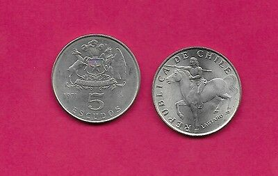 Chile Rep 5 Escudos 1971 Unc (Copper Nickel)Lautaro,araucanian Indian,upriser Ag