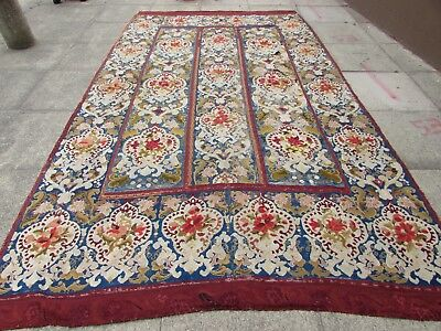 Antique Hand Made English Design Red Wool Original Needlepoint Rug 352X206cm