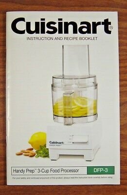 CUISINART DFP-3 Instruction and Recipe Manual.Guide ONLY 3 Cup Food Processor