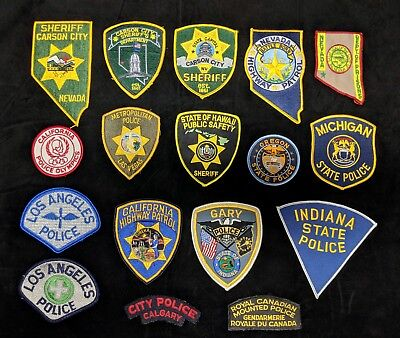 Lot of 17 Law Enforcement Shoulder Patches - Police Sheriff Highway Patrol