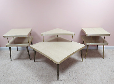 Vintage 3 Pc Mid-Century Formica Coffee & Two End Tables Set Two-Tier Boomerang