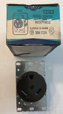 Eagle 1263 Travel Trailer Flush Receptacle 30A-125V-New in Box