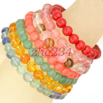 classic Handmade Natural Gemstone Round Beads Stretch Bracelet 4mm 6mm 8mm 10mm