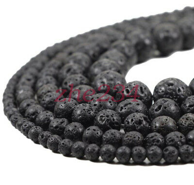 Natural Black Volcanic Lava Gemstone Round Beads 15.5'' 4mm 6mm 8mm 10mm 12