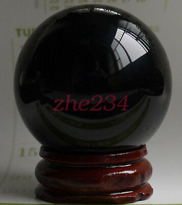 40mm Rare Natural Black Obsidian Sphere  Crystal Ball Healing Stone+stand