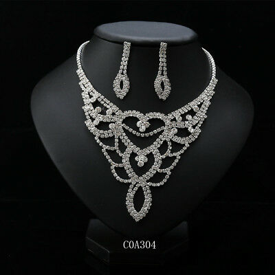Wedding Rhinestone Necklace Crystal Earrings Jewelry Set Shining Anniversary New
