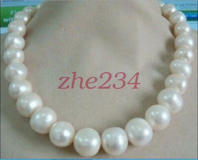 NEW HUGE 13-15MM SOUTH SEA GENUINE WHITE PEARL NECKLACE 14K 18'' beauty