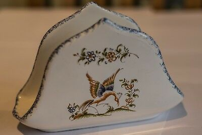 Extremely Rare Decor Moustiers French Faience Letter Holder