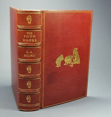 WINNIE THE POOH Milne - Fine Binding Leather Baytun - All 4 Books Bound  Together