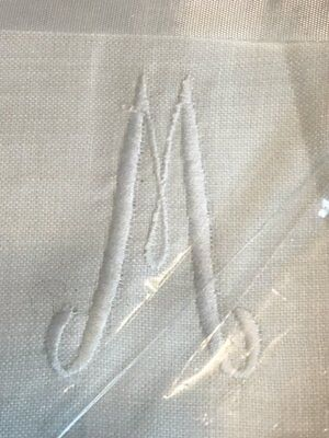 "NOS Vintage Irish Linen Placemats-Hand Embroidery~Monogram ""M made in Ireland"