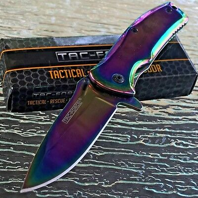 "6"" TAC FORCE RAINBOW SPECTRUM SPRING ASSISTED TACTICAL Open Folding Pocket Knife"
