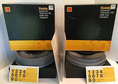 Kodak Carousel Transvue Chargeur Slide Tray 80 & 140 For 35mm Slides With Boxes