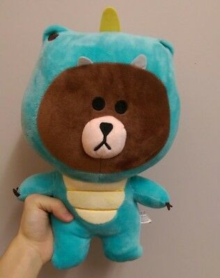 Brown Line Bear plushie - Dino outfit