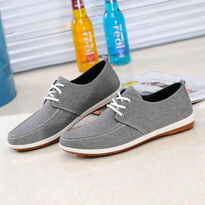 Men's Casual Boat Canvas Shoes Antiskid Flat Lace Up Loafers Driving Moccasins