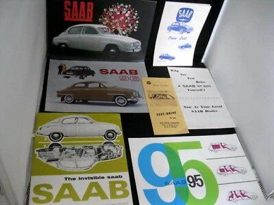 Lot of 7 SAAB 96 /95 Sales Brochures & Spec Sheets 1963-4-5 Original& Mint