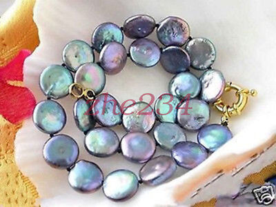"""Rare Large 13-14Mm Natural Black Coin Shape Pearl Necklace 18""""aaa+"""
