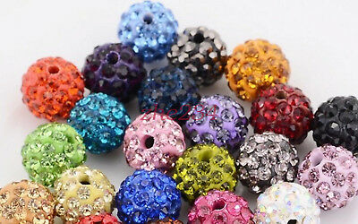 100pcs Wholesale 10MM pave disco crystal 29 colors shamballa beads